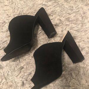 Black Faux Suede Peep Toe Mules